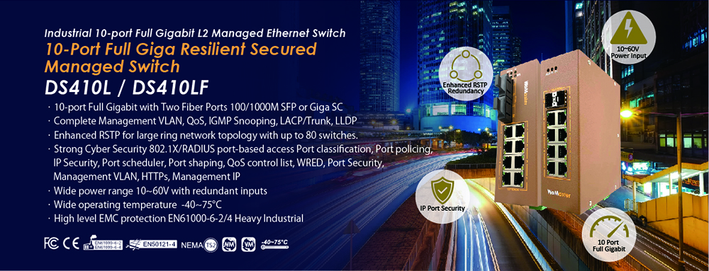 WoMaster Launch DS410L Industrial 10G Resilient Managed Switch