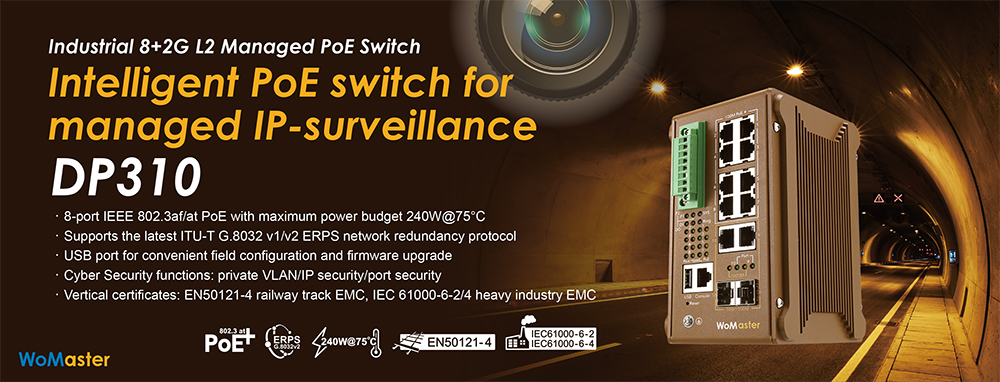 WoMaster DP310 - a PoE Switch for Managed IP Surveillance