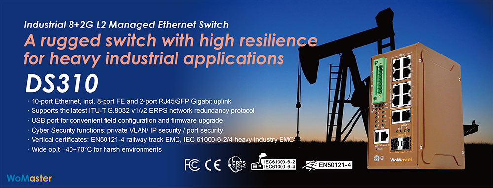 WoMaster DS310 – a Rugged Switch with High Resilience for